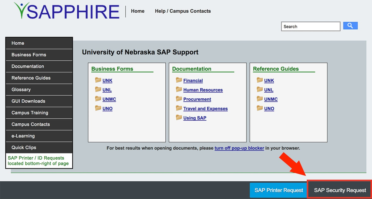screenshot of location of SAP Security Request button on Sapphire